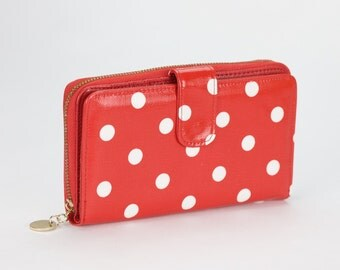 Oilcloth Clutch wallet- Polka dot - Oil cloth ladies purse - Zip around wallet - Bifold wallet- Coin purse- Laminated cotton - Iphone Plus