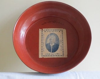 Red Burmese Lacquer plate - Large