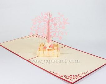Love Pop Up Card - FREE Shipping - Heart Pop Up Card, 3D Love Card, Tree Love Card, Birthday Card,Valentine's Day Card