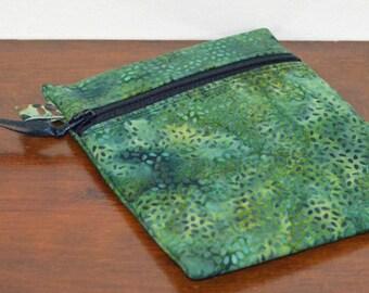 Green Batik Phone Pouch