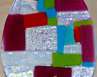 Handmade Dicroic Glass Easter Belt Buckle