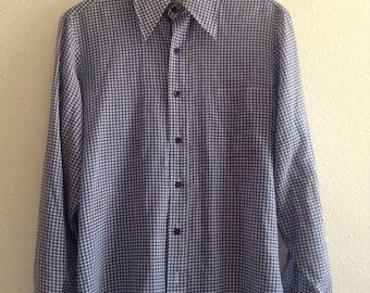 1970s M/L vintage gingham shirt