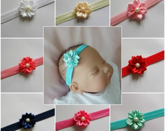Baby girls satin small Flower Hairband with pearl-Lots of colours available