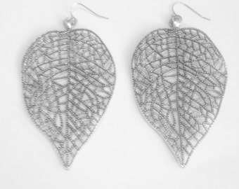 Gorgeous Gummetal/Silver Leaf Earrings