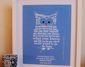 Personalised 'Graduation Owl' Print - [UNFRAMED] - perfect graduation gift