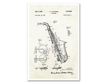Saxophone Patent Poster Print