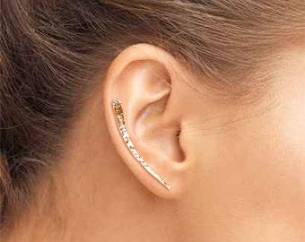 Gold Filled Hammered Ear Climber, Gold Ear Crawler, Gold Filled Ear Sweep, Gold Ear Sweep, Hammered Ear Climber