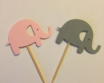 Pink and gray elephant cupcake toppers, baby shower