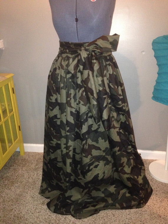 camo midi maxi skirt with pockets and belt see