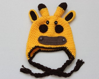 Crochet Baby Hats, Giraffe Hat, Photo Prop, Baby Animal Hat