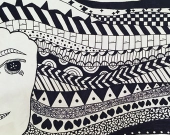 Black and White Whimsical Girl Drawing