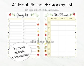 Meal Planner. Grocery List, A5 Planner Inserts, To Do List, Weekly Meal Planner, A5 Inserts, Meal Planning, Health Planner, Weekly Planner
