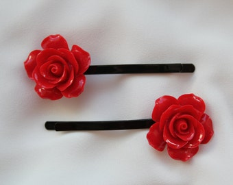 Red Rose Bobby Pins