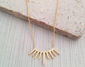 Gold Spike Necklace,Crystal Spike Necklace,Dainty Spike Necklace,Minimal Gold Necklace,Layering Gold Necklace,Layering Necklace,Spike