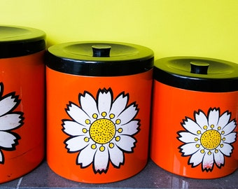 Flower Power Orange Giftware Kitchen Canisters