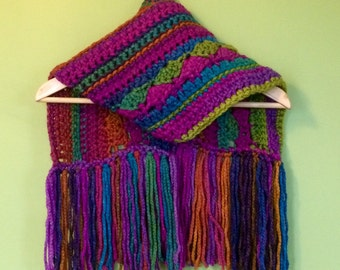 Crocheted scarf, bright and cheerful. Keep warm AND look good with this super cheerful rainbow scarf