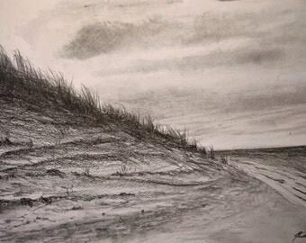 Dünen im April, Graphitzeichnug, im Alurahmen, 31 x 22 cm