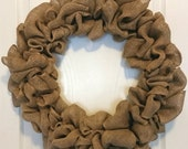 Handmade Burlap Wreath / Full Burlap Wreath / Large Burlap Wreath / Country Wreath / Rustic Wreath / Jute / Natural Wreath