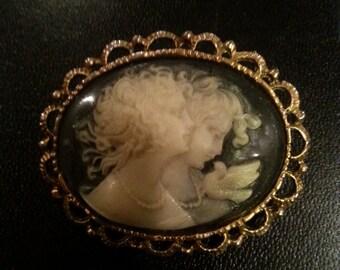 Vintage cameo pin