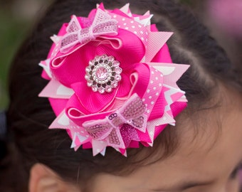 Pretty Pink Boutique Hair Bow, Stacked Hair Bow, Girls Hair Bow, Hair Bow For Girls, Baby Headband, Hair Bow For Babies, Baby Boutique Bow