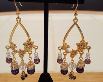 Fit For A Queen! Pearl & Crystal Chandelier Earrings