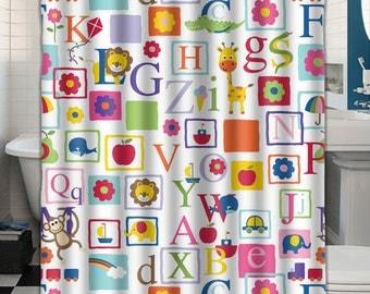 Custom Shower Curtain Alphabet  047108