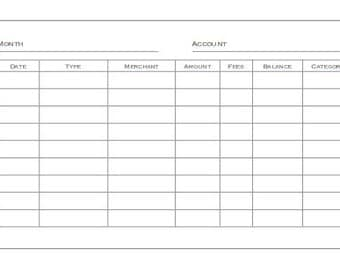 Personal Sized Account Register Printable Planner Insert