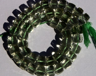 1/2 Strand 22 Pcs Natural Green Amethyst Faceted 3D Cubes Size 6-7 mm Approx Loose Gemstone Beads A19