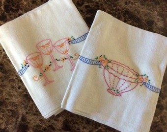 Vintage Hand Embroidered Muslin Tea Towels - Set of Two