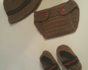 Baby gucci look alike prop diaper cover and hat set