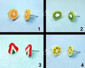 Earrings Fruits - Orange Kiwi Strawberry Banana