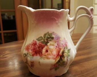 Elegant Antique Porcelain Creamer Pitcher Hand-painted Floral - unmarked