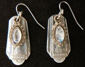 Antique Spoon Earrings...Sterling Silver Rainbow Moonstone...Vintage Silverware