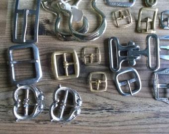 Vintage metal buckle lot assorted buckles lot of 35. destash. Leather craft