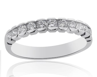Channel Set Round Brilliant Cut Diamond Wedding Ring in 14K White Gold (0.45 tcw, (G SI-1)