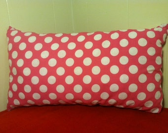 Pink and White Throw Pillow, Lumbar Polka Dot Pillow, White Polka Dots, Pink Pillow, Pink, Gifts for her, I love Pink.