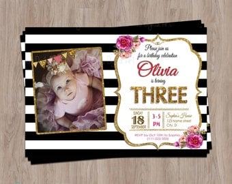 3rd birthday invitation, Third Birthday Invitation, Photo birthday invitation, Girl Birthday Invitation, Pink, Black, Floral, gold, glitter