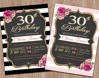 30th Birthday Invitation, 30th Birthday Invitation for Women, 30th birthday for her, 30th birthday invite, 30th birthday invitation female