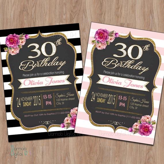 30th Birthday Invitation 30th Birthday Invitation for Women