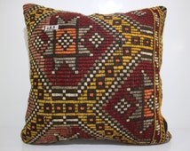 patterned Turkish Kilim Pillow Cover Large Floor Cushion  Case 60x60 Turkish Kilim Pillow Cover 24x24 Embroidered Pillow Case SP6060-299