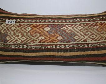 12x24 Bedding Pillow Brown Kilim Pillow Lumbar Pillow Turkish Pillow Sofa Pillow,Decorative Pillow Cover Kilim Cushion Cover SP3060-201