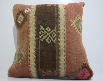 16x16 anatolian Turkish kilim 16x16 patchwork kilim pillow cover pillow cushion cover SP4040-930