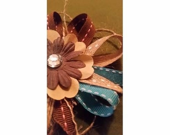 Brown and Blue Flower Hair Bow