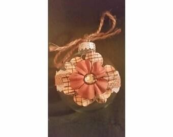 Plaid Flower Burlap and Lace Ornament