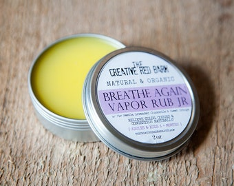 Organic Vapor Chest Rub ~ Safe for Children 6 Months and older ~ Natural Congestion Relief, Breathe Again Balm, New Mom Gift, Get Well Idea