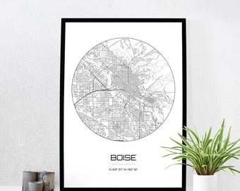 Boise Map Print - City Map Art of Boise Idaho Poster - Coordinates Wall Art Gift - Travel Map - Office Home Decor
