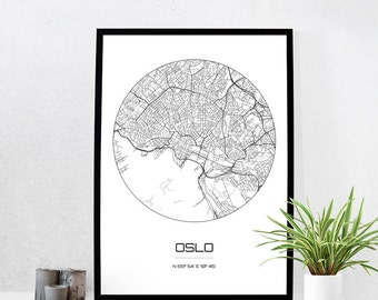 Oslo Map Print - City Map Art of Oslo Norway Poster - Coordinates Wall Art Gift - Travel Map - Office Home Decor