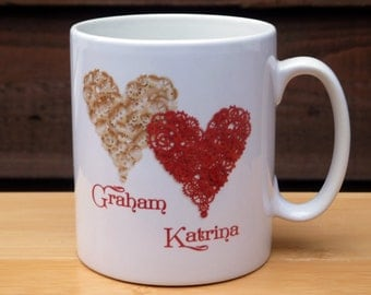 Twin Steampunk Hearts Personalised Mug (Valentine's/Wedding/Anniversary)