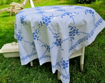Rustic house linen tablecloth mt embroidery vintage blanket