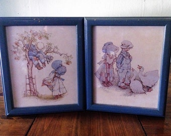 "Vintage Holly Hobbie 1970s Framed Art 9.5 x 11.5"" set of 2 country farmhouse childs childrens doll 1973 print sketch bonnet ducks tree girl"